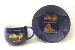 Morro Bay California Souvenir Porcelain Cup And Saucer Cobalt Blue Gold