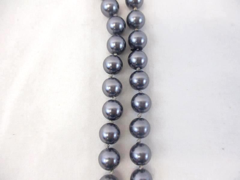 Lot of 2 Vintage Strands Of Dyed Faux Pearls Gray Pink 36in