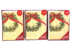 Lot of 3 American Greetings Holiday Wreath Cards Box Set 14 Cards and Envelopes