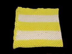 Hand Crochet White Yellow Striped Throw Blanket Knit Bright Baby Blanket