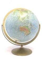 "Vintage Replogle Land And Sea Globe 12"" Raised Surface Compass Style Metal Base"