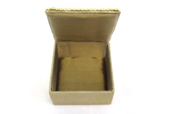 Pair of Vintage Beaded Satin Jewelry Trinket Boxes Taupe Ecru Red Black