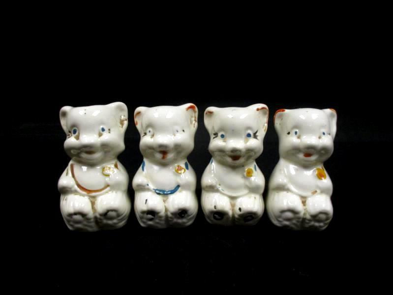 Lot of 4 Vintage 1940's Ceramic Mouse Salt Pepper Shakers Cork Bottoms
