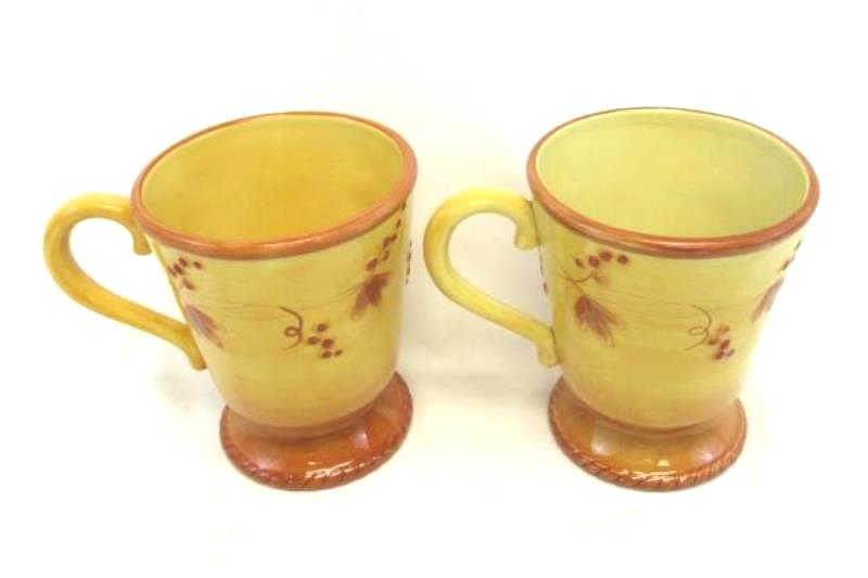 Set of 2 Fitz and Floyd Del Vino Grapevine Coffee Cups Mugs Pedestal Handle