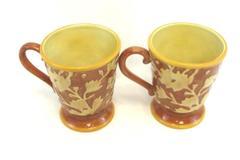 Set of 2 Fitz and Floyd Del Vino Flowers Coffee Cups Mugs Pedestal Handle
