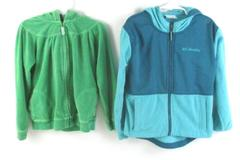 Lot of 2 Girl's Fleece Jackets Size 6 Columbia Teal Carters Green Hooded