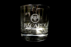 Bacardi Rocks Glass Clear Weighted Base Round Drink Responsibly