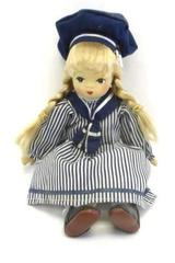 Vintage Sailor Girl Ceramic Shelf Doll 9in Blue Eye Blonde Hair