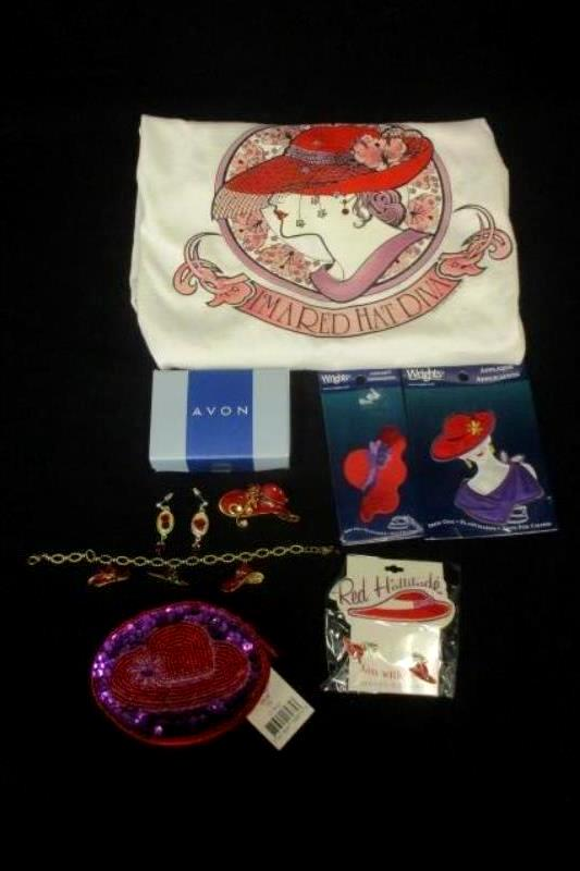 Lot of Red Hat Society Items Women's Sz L Top Earring Bracelet Coin Bag Patches