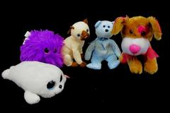 Lot Of 5 Stuffed Animal Plush Dolls Ty Beanie Babies Boo Dog Fiesta Siam Decade