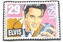 Vtg Elvis Presley Placemat Replica 1992 US Postal Stamp Vinyl Postmark Originals