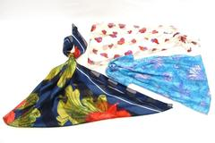 Lot of 3 Satin Sheer Scarves Purse Floral Hearts Blue Head Wraps Covers