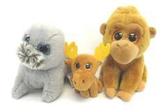 Lot of 3 Ty Beanie Boos Wiggy Seal Monroe Monkey Chocolate Moose