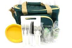 Axis Group Picnic Bag Cooler Polyester Insulated With Extras Green Beige