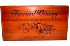 Ferrara Winery Cedar Wine Bottle Box Souvenir Case Wood Empty