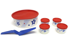 Vintage Tupperware Patriotic Container Set 3421A-1 Snack Container Pie Cutter