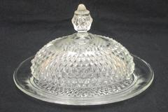 Vintage Cut Glass Crystal Covered Oval Butter Dish Diamond Point Dome Lid