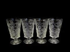 Lot of 4 Vintage Tumblers Cups Clear Glass Star Diamond Cut Pedestal Dessert