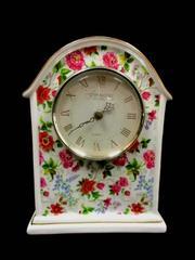 Baum Bros Formalities Clock Porcelain Quartz Mantel White Flowers Works