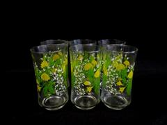 Vintage Set Of 6 Libby Cups Yellow Floral Glass Tumblers Green Clear White
