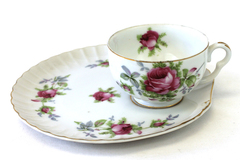 Norcrest China Pink Rose Snack Plate And Cup NW-C-160B