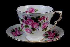 Vintage Queen Anne Tea Cup and Saucer Set Pink Rose China Gold Trim England