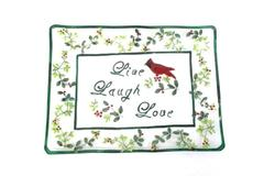 Serving Tray Clear Glass Retangular Live Laugh Love Cardinal Red Berries Vines