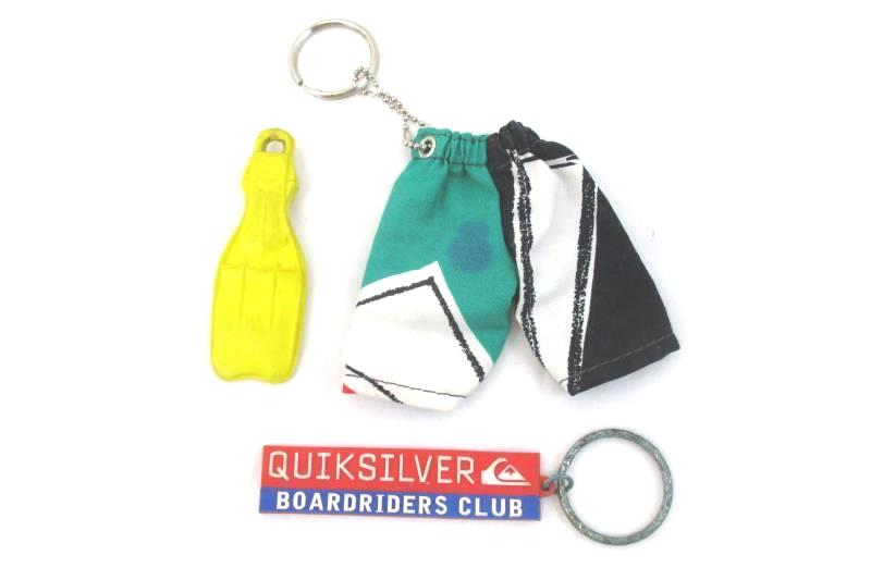 Lot Surf Keychains & Mini Yellow Dacor Fin Surf Themed Quicksilver Off Shore
