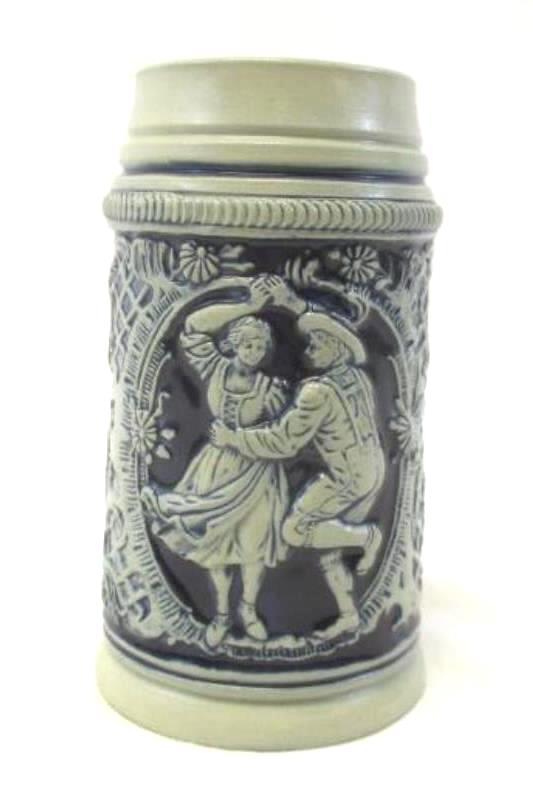 Vintage Thewalt Pottery Beer Stein West Germany Blue Gray Couple Dancing