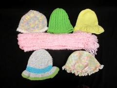 Lot of 5 Homemade Knit Beanie Hats With Scarf Green Pink Yellow Crochet
