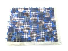 Blue Quilted Baby Throw Blanket Flannel Floral Trim Homemade