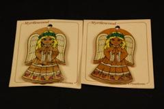 Lot of 2 Vintage Besler Wood Creations Myrtlewood Angel Ornaments