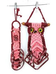 Set of 2 Vintage Macrame Towel Holders Owl Hanging Pink Boho Hippie 70s Craft