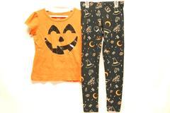 Cat & Jack Girl's Halloween Outfit Set Size 6/6X Top Legging Jack-O-Lantern