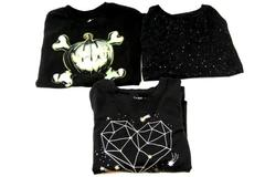 Lot of 3 Girls Tops Size 7/8 Black Glitter Glow In Dark Pumpkin Cat & Jack