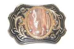 Western Style Belt Buckle Black Gold Tone Silver Tone Floral Faux Pink Quartz