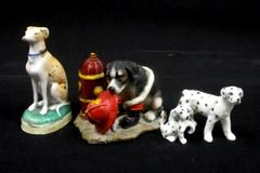Lot Of 3 Assorted Dog Figurines Bone China Resin Ceramic