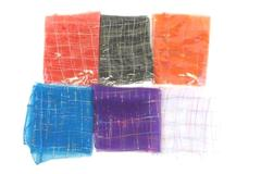 Lot of 6 Wrap Headbands Semi Sheer Metallic Accents Red Black Blue White Purple