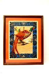 Framed And Matted Print Yarn Needlepoint Pheasant Tapestry