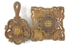 Lot of 2 Wood Hand Carved Trivet Inlaid India Wooden Footed Leaves Flowers