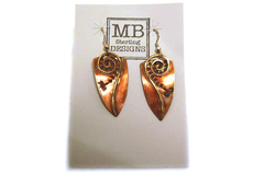MB Sterling Designs Earrings Hand Crafted Copper Brass Shield Pierced