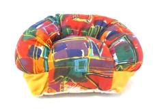 Vintage 1994 ToyMax Doll Couch Plush Multicolor '90s Geometric Pattern 7.5 in