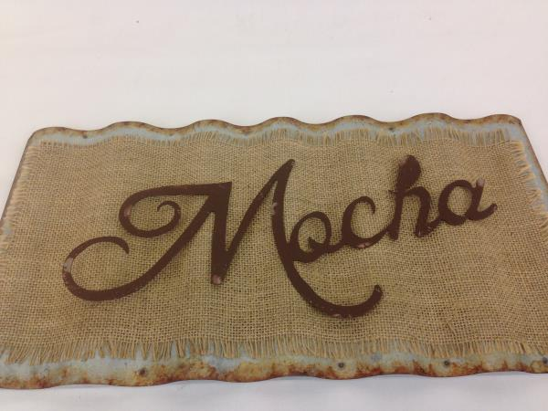 """Mocha"" Corrugated Metal & Burlap Plaque 18""x9"" Hanging Kitchen Home Cafe Decor"