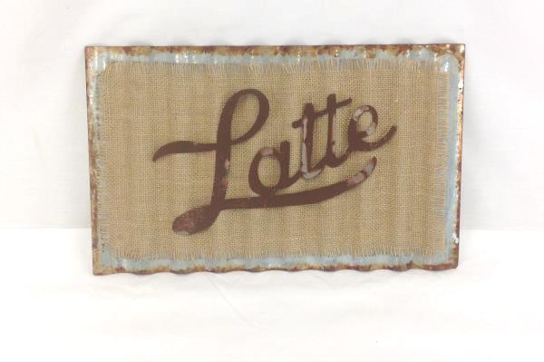 """Latte"" Corrugated Metal & Burlap Plaque 15""x9"" Hanging Kitchen Home Cafe Decor"