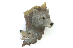 Large Hanging Wolf Figurine Two Wolf Heads Tree Trunk 13 in Tall