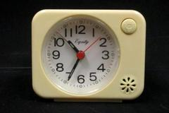 Vintage Equity Battery Operated Alarm Clock Plastic Case Cream Color