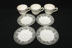 Lot of 7 Enoch Wedgwood Tunstall Ltd England Malverne Teacups Saucers Floral