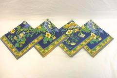 Set of 4 Vintage Cloth Placemats Blue Floral Golden Yellow