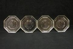 Lot of 4 Clear Octagon Shaped Saucers Textured Coasters Made In Italy