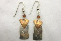 MB Sterling Designs Earrings Hand Crafted Sterling And Copper Pierced
